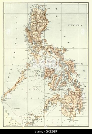 Karte der Philippinen am Ende des 19. Jahrhunderts. Stockbild