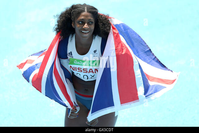 Rio De Janeiro, Brasilien. 14. Sep, 2016. Kadeena Cox von Großbritannien feiert nach dem Gewinn der Frauen Stockbild