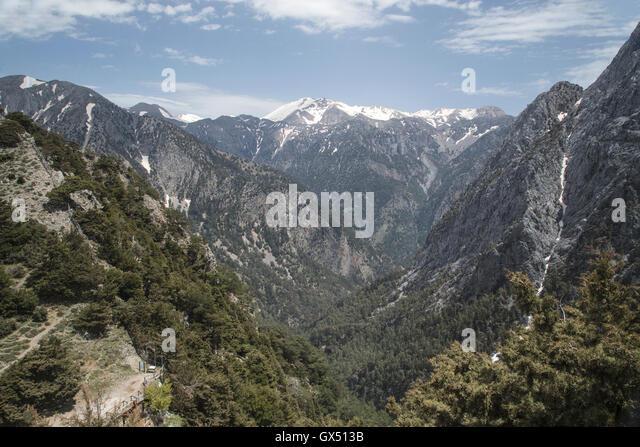 Ansicht der Samaria-Schlucht, längste Schlucht Europas, in Kreta, Griechenland Stockbild