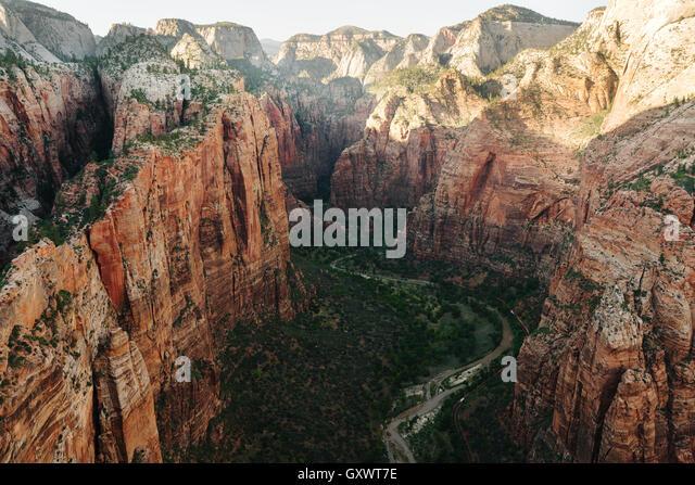 Blick von Engels Landing im Zion Nationalpark Stockbild