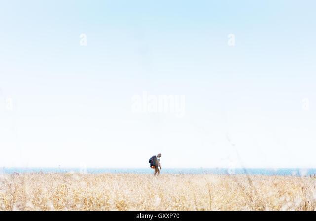 Ein Wanderer führt durch eine Strecke von Grass als Teil des nördlichen Kaliforniens Lost Coast. Stockbild