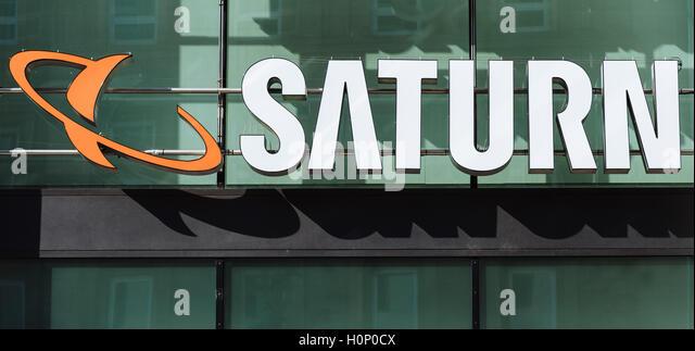 Logo, Saturn, Unterhaltungselektronik, Stuttgart, Baden-Württemberg, Deutschland Stockbild