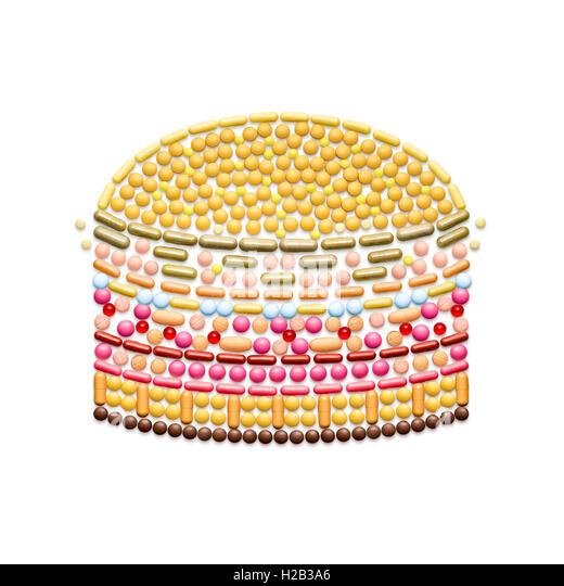 Kreative Gesundheitskonzept gemacht von Medikamenten und Pillen, isoliert auf weiss. Ungesunde Junk-Food-Burger. Stockbild