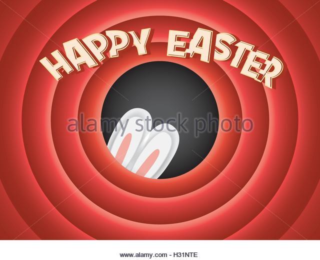 Happy Easter Postkarte Hintergrund. Vintage Retro-klassischen Kino-Leinwand. Entzückende Hasenohren versteckt. Stockbild