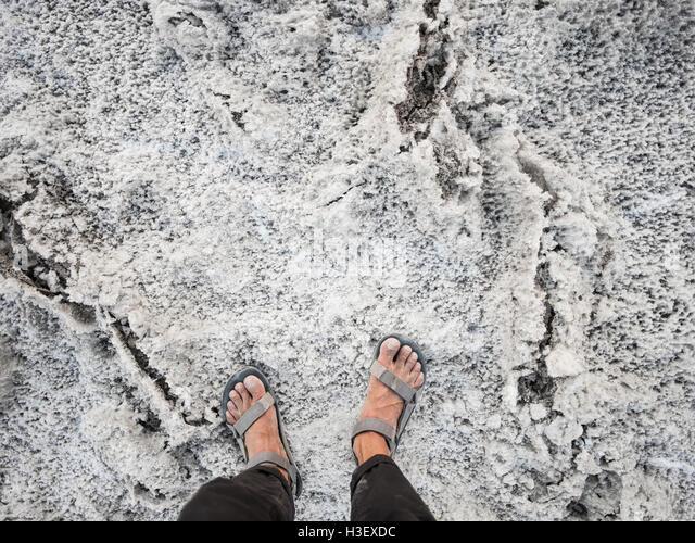 Salz im Badwater Basin in Death Valley Nationalpark Stockbild