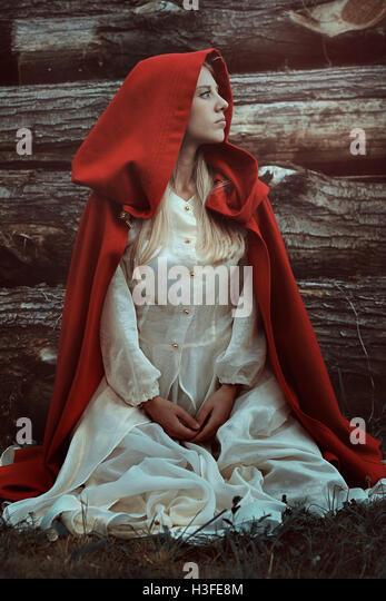 Kleine red Riding Hood. Kalte Farben-Porträt Stockbild