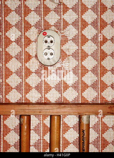 Wand, Tapete, probieren, Sockel, wird überholt Retro-Look, Tapete Muster, gemustert, Elektrizität, Strom, Stockbild
