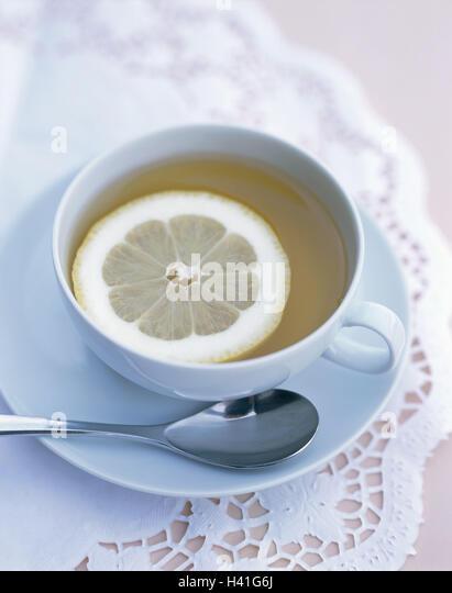 Teetasse, Tee, Scheibe Zitrone, noch Leben, Essen, Getränke, heiße Getränke, Tasse, Untertasse, Löffel, Stockbild