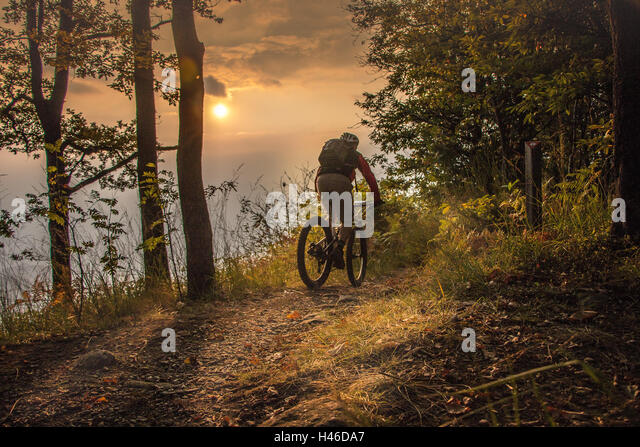 Mountain-Biking bis zum Sonnenuntergang Stockbild