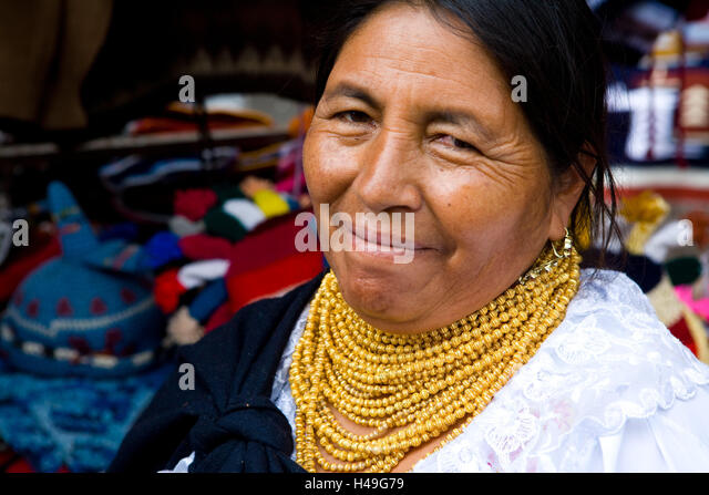 Ecuador, Provinz Cotopaxi, Pujilí, Markt, Frau, Lächeln, Porträt, Südamerika, Person, einheimischen, Stockbild