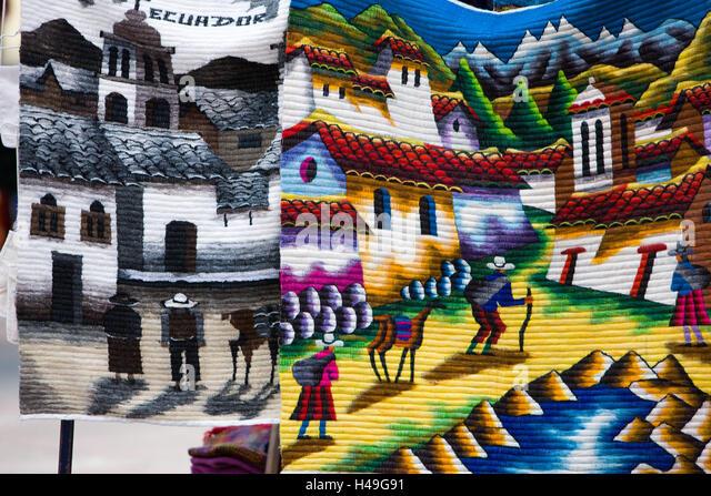Ecuador, Provinz Cotopaxi, Pujilí, Markt, Vertrieb, Kunsthandwerk, traditionell, Südamerika, Marktstand, Stockbild