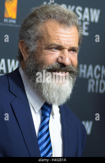Sydney, Australien 16. Oktober 2016: Mel Gibson kommt vor der australischen Premiere der Säge Ridge am Staatstheater. Stockbild