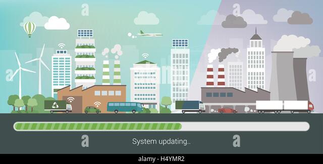 Verschmutzten Stadt ändern und Ausbau zu einer innovativen sauber Ökostadt, Umweltschutz und Nachhaltigkeit Stockbild