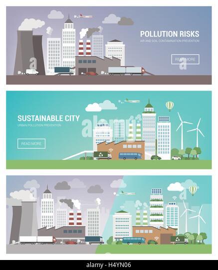 Saubere und verschmutzten Stadt Banner gesetzt, Umweltschutz und nachhaltige Stadtentwicklung Konzept Stockbild