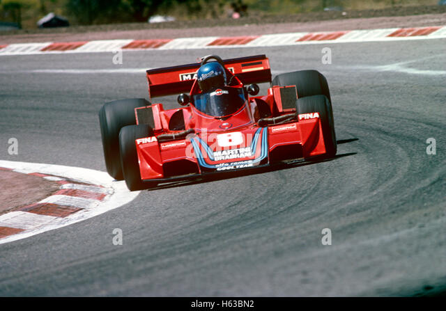 Carlos Pace mit seinem Brabham BT44 Alfa Romeo Racing Auto 1975 Stockbild