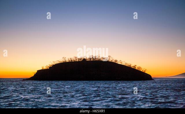 Ecuador, Galápagos-Inseln, Isla Isabella, Isllet in Elizabeth Bay im Morgengrauen Stockbild