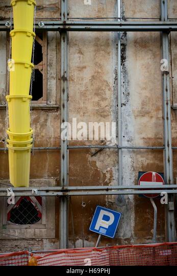 Italien. Abruzzen. L ' Aquila. 2016. Wiederaufbau arbeitet nach dem Erdbeben von 2009 Stockbild