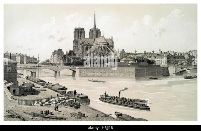 Isle de Paris mit Notre Dame Kathedrale 1800 Abbildung mit frühen Ausflugsschiff und Passagiere Stockbild