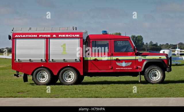 Luftfahrt-Feuer und Rettungsfahrzeug in Goodwood Aerodrome, West Sussex, England Stockbild