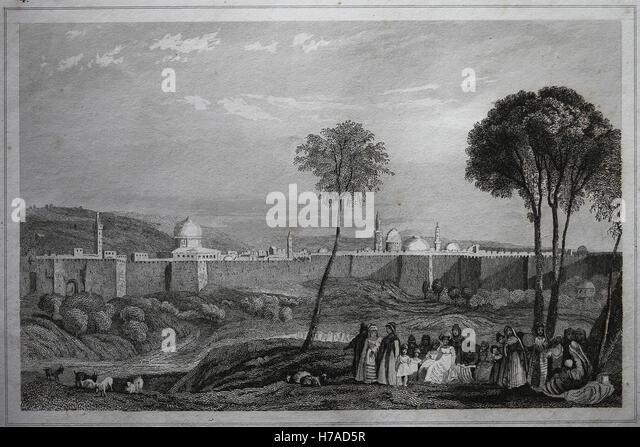 Jerusalem. Wänden. Kupferstich, 19. Jahrhundert. Stockbild