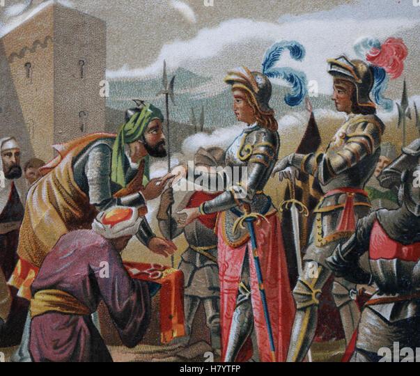Reconquista der iberischen Halbinsel. Granada-Krieg. Kapitulation von Granada, 1492. Muhammad XII, Ferdniand II. Stockbild