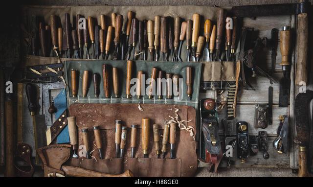 Über Kopf flach legen Bild der Werkzeuge für die Holzbearbeitung Stockbild