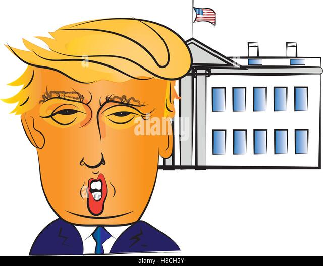 Charakter-Portrait von Donald Trump, der 45. Präsident der Vereinigten Staaten, mit dem weißen Haus Gebäude Stockbild