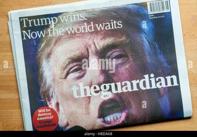 Titelseite des Guardian am Tag nach Donald Trump gewann Wahl der 45. Präsident der Vereinigten Staaten von Stockbild