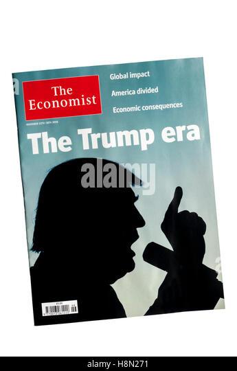 Cover von The Economist nach Donald Trump gewann die Wahl der 45. Präsident der USA zu werden. Stockbild