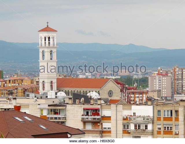 PRISTINA, KOSOVO - Juni 2016: Neue römisch-katholische Kathedrale der seligen Mutter Teresa mit einem hohen Stockbild