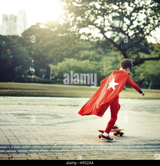 Superheld Kind spielerische Glück Freizeit Aktivität Konzept Stockbild