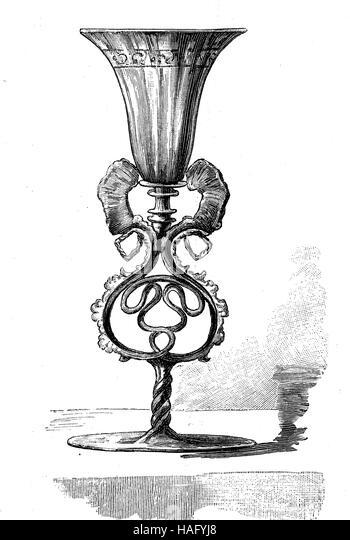 Drinkware, machte eine Tasse des venezianischen Glases, Venedig, Italien, 16. Jahrhundert, Holzschnitt aus dem Jahr Stockbild