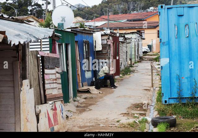 A Straßenszene, Imizamo Yethu Township in Kapstadt, Südafrika Stockbild