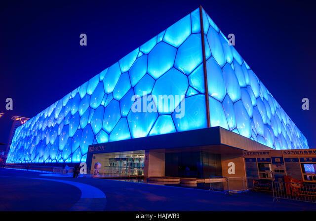 Wasser-Würfel - ein Weitwinkel Nachtansicht von Beijing National Aquatics Center, auch bekannt als Water Cube, Stockbild