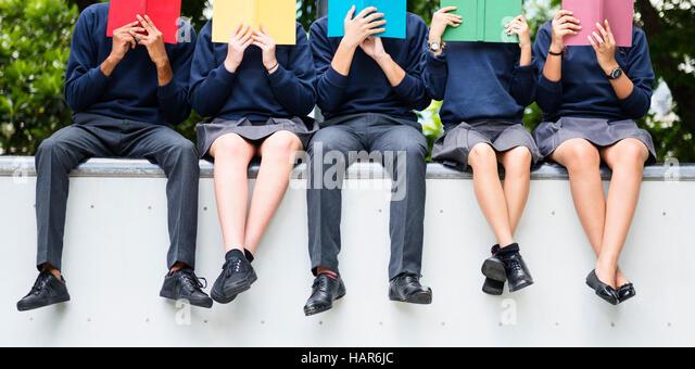 Student Study Uniform Buch College Buch Teen Konzept Stockbild
