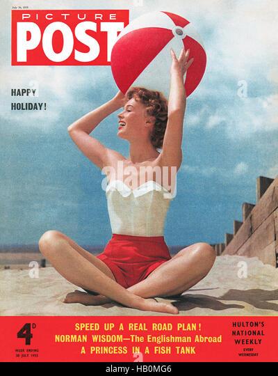 Vordere Abdeckung des Picture Post Magazin für 30. Juli 1955, mit dem Model Jill Howard fotografiert von Neil Stockbild