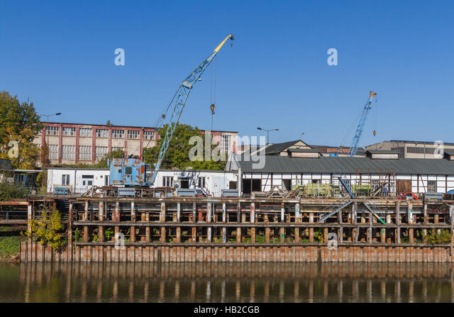 Sachsen-Anhalt: Werft in Roßlau Stockbild