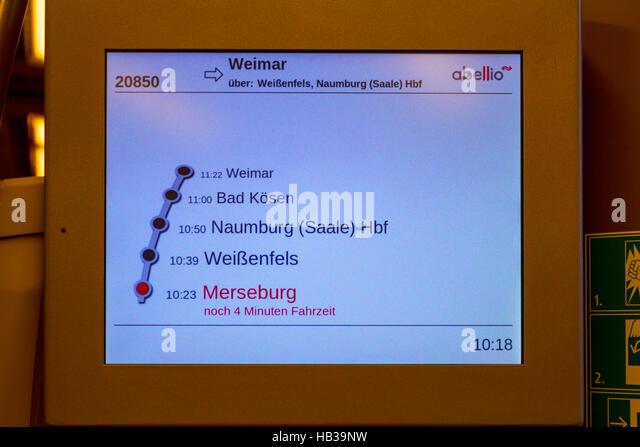 Abellio: Zeitplan in einem Abellio-Zug Stockbild