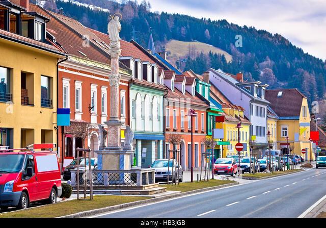 Schlechte Sankt Leonhard bunte Straßenbild Stockbild