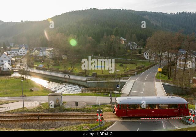 Alten Schienenbus in Thüringen (Deutschland) Stockbild