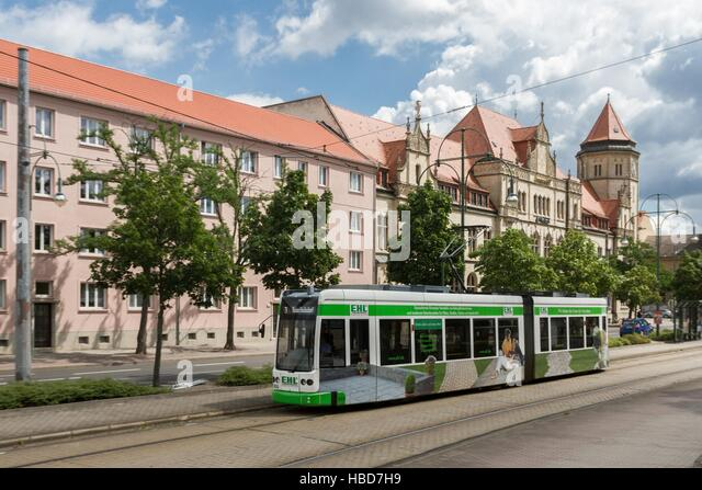 Straßenbahn in Dessau Stockbild