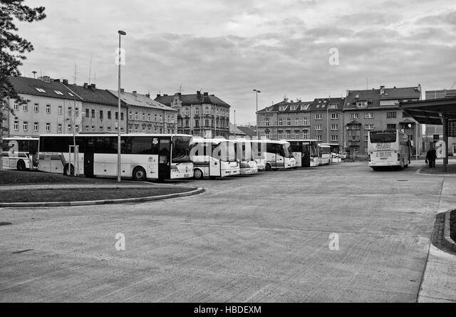 Busbahnhof in Cheb (Tschechien) Stockbild