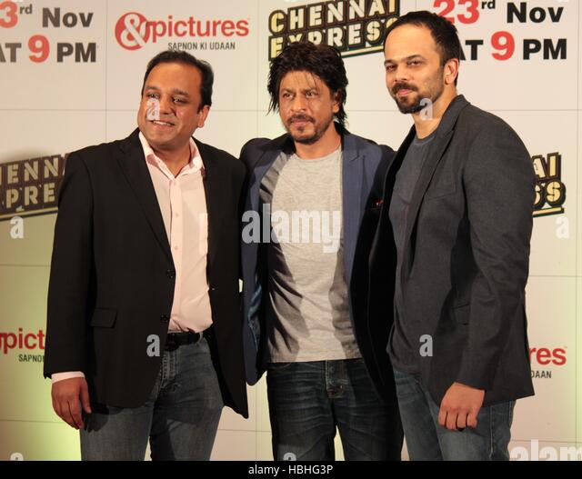 Punit Goenka Zee Entertainment Unternehmen begrenzt Shah Rukh Khan Rohit Shetty Zee TV party Film Chennai Express Stockbild