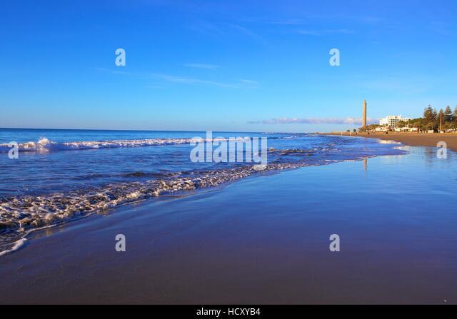 Der Strand von Maspalomas, Gran Canaria, Kanarische Inseln, Spanien Stockbild