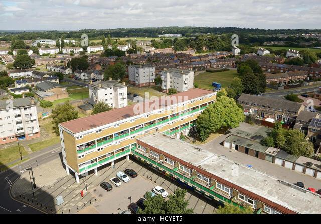 Für den sozialen Wohnungsbau am Stadtrand von Southampton UK Stockbild