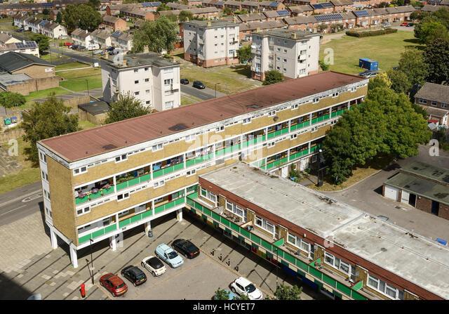 Sozialer Wohnungsbau-Wohnungen am Stadtrand von Southampton UK Stockbild