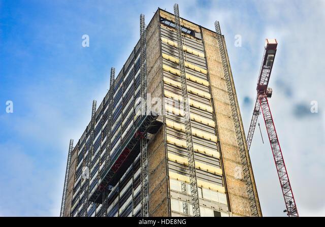 Gebäude im Umbau Stockbild