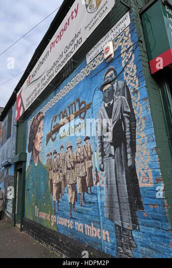 Belfast fällt Rd republikanischen Wandbild am Beechmount Ave, weibliche Widerstand Stockbild