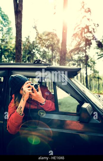 Junger Mann nehmen Fotos Konzept Stockbild