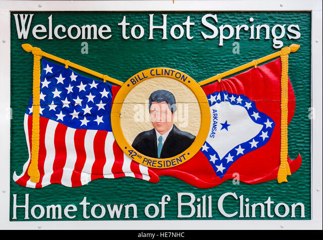 Hot Springs, Arkansas, USA. Willkommensschild mit Ex-Präsident Bill Clinton, der in der Stadt aufgewachsen. Stockbild
